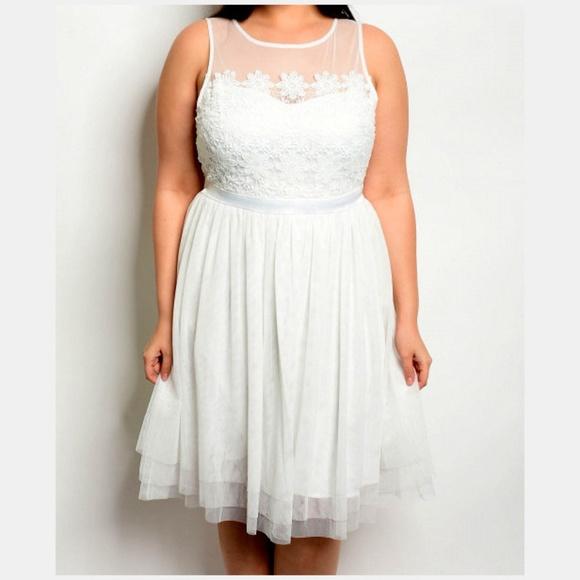 White PLUS 3X Floral Mesh Tank Fit & Flare Dress Boutique
